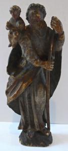 Malá dřevěná polychromovaná soška - sv. Kryštof (1).JPG
