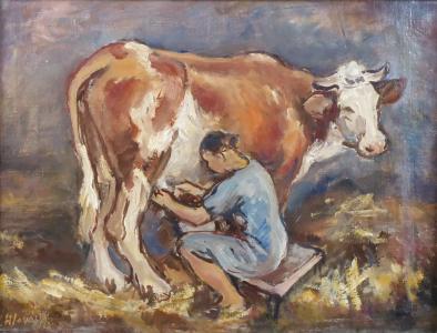 Josef Hlaváček - Žena při dojení kravičky (2).JPG