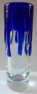 Váza, bezbarvé a kobaltové sklo - Jaroslav Svoboda, Škrdlovice (1).JPG