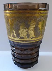 Váza z topasového skla, zlacený antický motiv - Čechy 1920 - 1940 (1).JPG