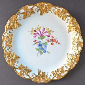 Míšeňský talíř se zlatými listy a květinami - Míšeň (1).JPG