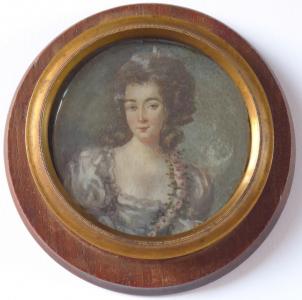 Malovaná miniatura dívky - dřevěný kulatý rámeček (1).JPG