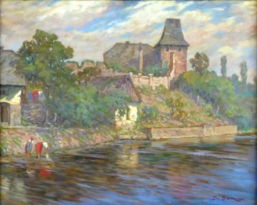Josef Bárta - Pradleny u řeky pod hradem (2).JPG