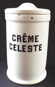 Porcelánová lékovka, nápis Creme Celeste - Loket (1).JPG