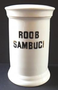 Porcelánová lékovka, nápis Roob Sambuci - Loket (1).JPG