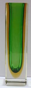 Hranolovitá vázička, zelená a žlutá lazura - Murano (1).JPG