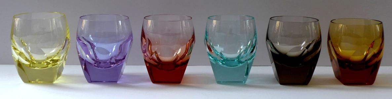 Šest barevných skleniček Moser, Bar, R. Eschler (1).JPG