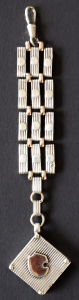 Stříbrný šatlén s medailonem a zlatými plíšky (1).JPG