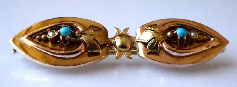 Zlatá brož s tyrkysy, ze dvou částí - Biedermeier (1).JPG