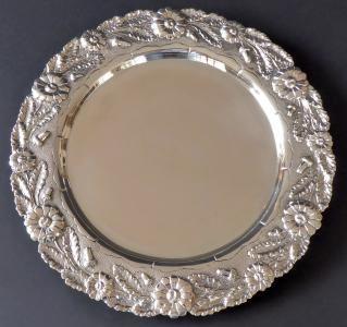 Stříbrná kulatá mísa, florální lem - Porto, Portugalsko (1).JPG
