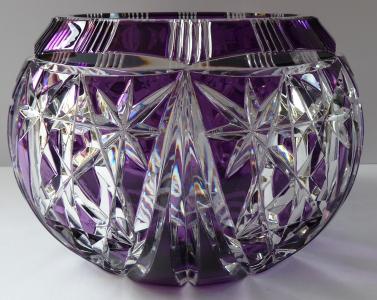Broušená kulatá mísa, bezbarvé a ametystové sklo (1).JPG