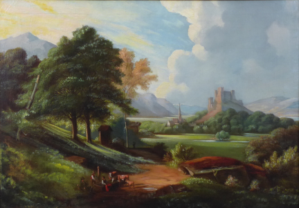 Romantická krajina s hradem 1870 - 1890 (2).JPG