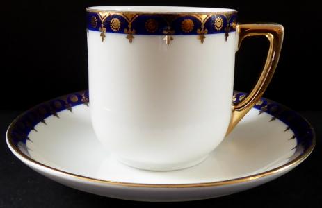 Kávový šálek s modrým okrajem a zlacením - Dalovice, Epiag (1).JPG
