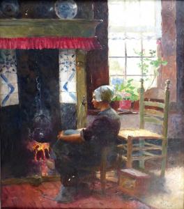 Carl Duxa - Severoněmecká dívka sedící u krbu (2).JPG
