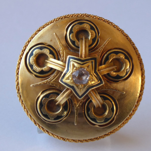 Zlatá brož, černý email, kroužky a hvězda - Biedermeier (1).JPG