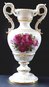 Reprezentativní velká míšeňská váza, malované květiny (1).JPG