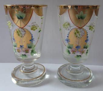 Dvě skleničky z květy a plody, zlacené (1).JPG