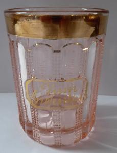 Sklenička z růžového skla, zlatým okrajem - Zum Andenken (1).JPG
