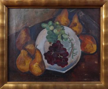 Zátiší s hruškami, hrozny na talíři (1).JPG