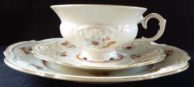 Šálek s dezertním talířkem, rokokový styl - Reichenbach (1).JPG