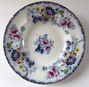 Kameninový talíř, čínský květinový vzor - Francis Morley, Shelton (1).JPG