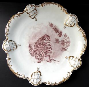 Velký talíř s malovaným kohoutem - Rosenthal (1).JPG