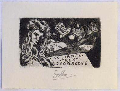 Josef Liesler - Ex libris Ireny Dvořákové, Zamyšlená žena (1).JPG