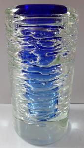 Váza Whirpool s modrým středem - František Vízner, Škrdlovice (1).JPG