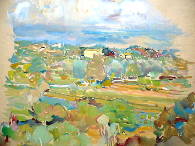 Stuchlík - Stromy a domy, modré nebe (1).JPG
