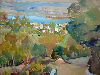 Stuchlík - Stromy, domy a ostrov v pozadí (1).JPG