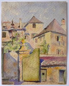 Staropražské zákoutí s lucernou, vraty a střechami (1).JPG