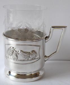 Secesní alpakový držák se skleničkou (1).JPG