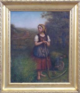 Děvče s kosou, trakařem a lokomotivou v pozadí (1).JPG