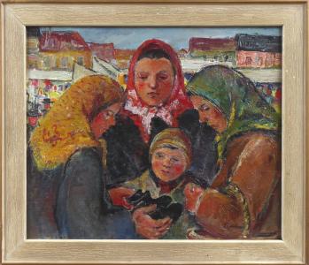 František Šimbera - Ženy s chlapcem  a botami, na trhu (1).JPG