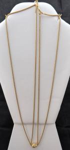 Zlatý jemný dlouhý řetízek, s karabinou a ozdobou (1).JPG