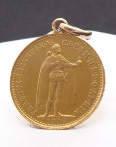 Přívěsek, zlatá mince - František Josef, Maďarsko 1908 (1).JPG