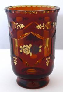 Váza z ambrového skla, malované zlaté a stříbrné růže (1).JPG