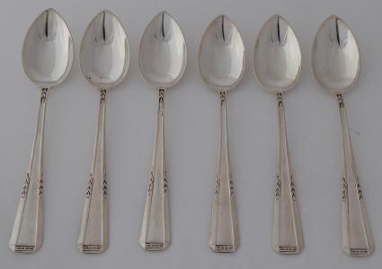 Šest stříbrných kávových lžiček - Hugo Sandig, Německo (1).JPG