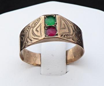 Prsten ze slitiny se zlatem, červený a zelený kamínek (1).JPG
