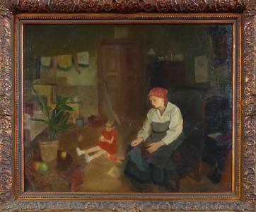 Josef Multrus - Sedící matka s holčičkou ve světnici (1).JPG