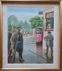 Městská ulice s tramvají a metařem - monogram E. R. (1).JPG