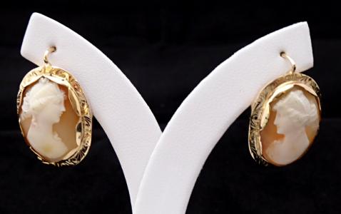 Zlaté náušnice s portréty dívek - kameje (1).JPG