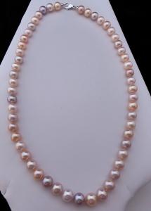 Náhrdelník, růžové sladkovodní perly - zlatý uzávěr (1).JPG