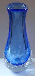Velká křišťálová váza, modré sklo, vzduchové bublinky - Vladimír Šváb (1).JPG