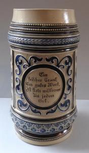 Větší keramický korbel, s nápisem - Reinhold Merkelbach (1).JPG