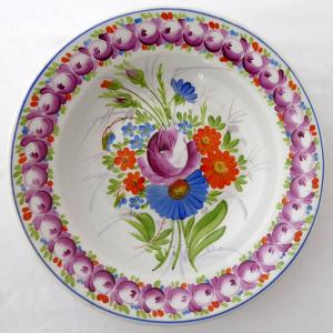 Talíř s malovanými růžemi, barevnými květy - František Míča, Klenčí (1).JPG