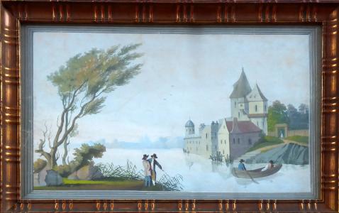 Zámek u jezera, s loďkou a postavami (1).JPG