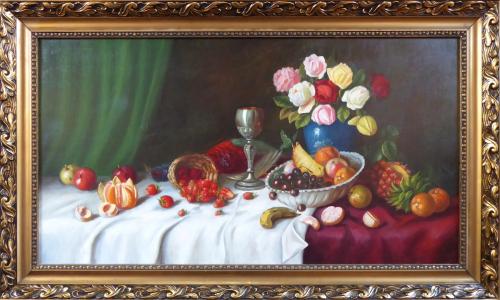 K. Müller - Zátiší s ovocem, mísou a růžemi (1).JPG