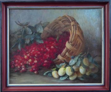 Zátiší s třešněmi v košíku a žluté slívy(1).JPG