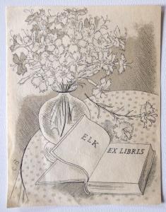 Cyril Bouda - Zátiší s knihou a květinami (1).JPG